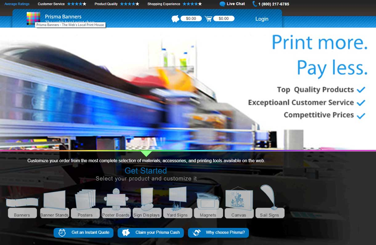 Prisma Banners Printing Company Website