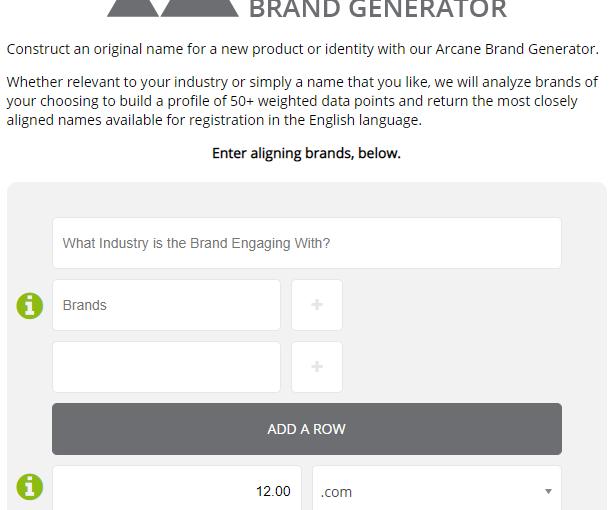 Arcane Brand Generator Screen