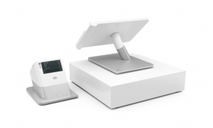 Clover POS system including cash draw, touchscreen and receipt printer